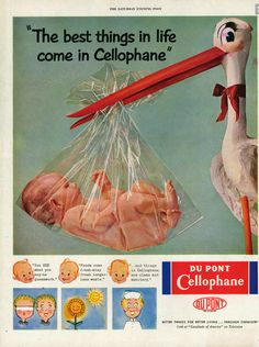 "Vintage 1950s Du Pont Cellophane Advertisement. ""The best things in life come in Cellophane""."