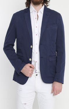 Lightweight Fitted Cotton Blazer - Navy