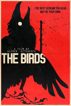 The Birds - Hitchcock Alt. Minimalist Poster by Edwin Julian Moran II Jessica Tandy, Melanie Griffith, Horror Posters, Cinema Posters, Scary Movies, Horror Movies, Alfred Hitchcock The Birds, Empire, Dark And Twisty