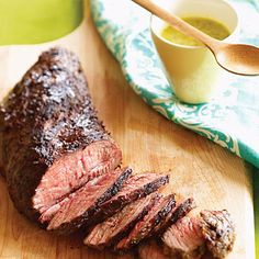Grilled Tri-tip with Cuban Mojo Sauce. Yum. I mixed the mojo with sour cream because I wanted it to be creamy.