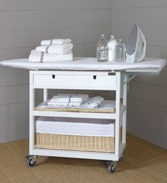 Complete Iron Board table with locking wheels, two drawers, shelf for tray, and shelves for laundry baskets. measures 86 x 112 x Ikea Laundry Room, Small Laundry Rooms, Laundry Room Design, Laundry Baskets, Ironing Board Storage, Under Kitchen Sinks, Diy Furniture, Furniture Design, Sewing Spaces