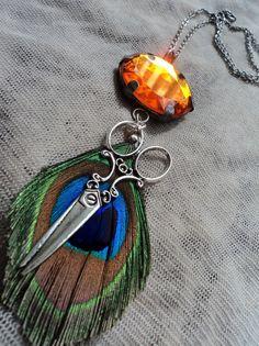 Hair Stylist Necklace Large Orange Gem with by ShearStyleJewelry, $24.00