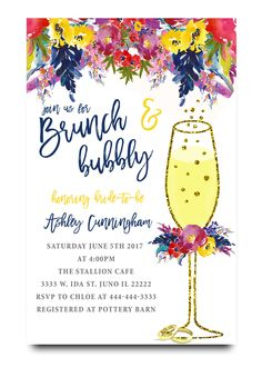bunch and bubbly, brunch, champagne glass, glitter, spring flowers, water color flowers, bridal shower invitation, watercolors, spring flowers, floral, cheap bridal shower invitation, modern bridal shower, cute bridal shower invitation, retro invitation, elegant, affordable bridal shower invitation,wedding invitation,occasion, cute,bachelorette party, bride, whimsical,printed, dream paperie, formal invitations, dinner invitation,custom invitation, card stock, samples, wed, bridal shower…