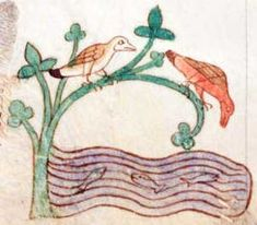 Two kingfishers looking at the fish in the water. Bottom margin illustration. British Library, Royal MS 13 B. viii, Folio 11r