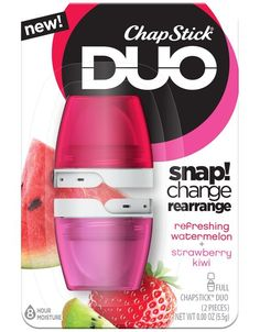 ChapStick® DUO Strawberry Kiwi These chapsticks are the perfect duo and they leave your lips feeling smooth and moisturized. They are great for on the go!
