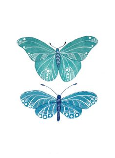 Turquoise Butterflies Archival Art Print by MagaMerlina on Etsy