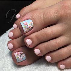 30 New ideas spring pedicure designs cherry blossoms Bright Summer Nails, Summer Toe Nails, Beach Nails, Bright Nails, Pretty Toe Nails, Cute Toe Nails, Pretty Toes, French Pedicure, Pedicure Nail Art