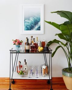Bar cart with tropical vibe