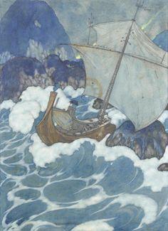fleurdulys: The Ship Struck upon a Rock - Edmund Dulac Edmund Dulac, Sea Crafts, Cute Illustration, Victorian Illustration, Botanical Illustration, Naive Art, Arabian Nights, Linocut Prints, Art Sketchbook