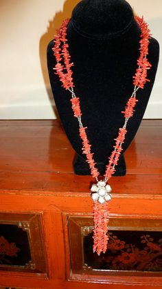 Hand made Silver and Coral necklace Floral clasp by wilshirerugs, $58.00