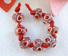 Lampwork Bead Set Valentines Day  'Crazy Hearts' by RoxeMarie, $24.00 #RoxeMariechat