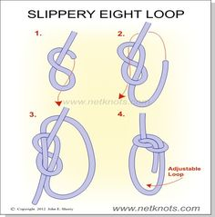 Slippery Eight Loop Knot - Create a relativley secure adjustable loop