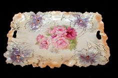 Rare R S Prussia  Carnation Mold 2 Handled Tray - Satin Finish - Roses!! #RSPrussia