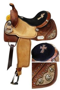 """GORGEOUS BARREL SADDLE 14 OR 15""""-SILVER CROSS CONCHOS-ALLIGATOR ACCENTS & CROSS"""