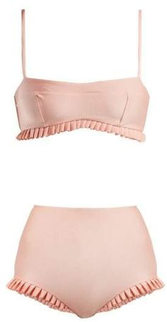 Charlotte Olympia Adriana Degreas - X Ruffle Trim Bikini - Womens - Pink Swimsuits, Bikinis, Swimwear, Adriana Degreas, Bikini Outfits, Pink Fashion, Bikini Fashion, Pink Bikini, Beachwear For Women