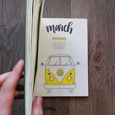 Bullet journal monthly cover page, March cover page, Volkswagen drawing. | @growing.bujo