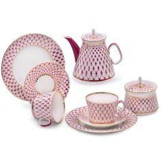Russian Lomonosov Imperial Porcelain Net-Blues 20 pc Tea Set for 6 Persons