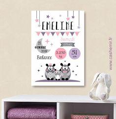 Affiche naissance bébé, cadeau de naissance fille personnalisé, tableau chambre bébé enfant, animaux - Fichier Imprimable - n°6 : Décoration pour enfants par cashemir