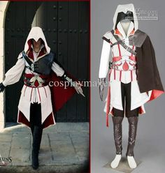 Assassin's Creed II III 2 3 Ezio Altair White Anime Cosplay Costume Embroidery Hallowmas Gift