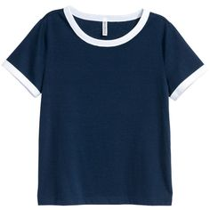 Short T-shirt $9.99 (33220 PYG) ❤ liked on Polyvore featuring tops, t-shirts, shirts, blusas, blue t shirt, blue shirt, blue jersey, jersey shirt and short shirts
