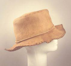 ViNtAgE Leather Floppy Bucket Hat Folk Fest cap Festival Boho