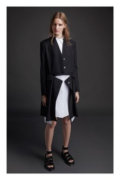Public School | Resort 2015 | 04 Black zipped coat and white shirt-dress