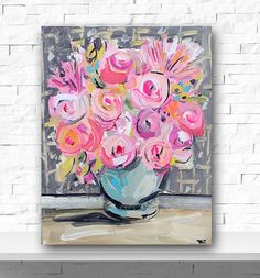 Roses and Peonies Abstract painting on canvas by Marendevineart