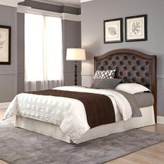 Duet Queen/Full Tufted Diamond Camelback Headboard Brown Leather