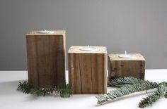 reclaimed barn wood. wooden candle tea light holders. set of three. center piece. modern.. $32.00, via Etsy.