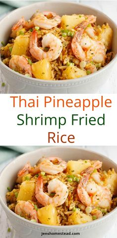 Thai Pineapple Shrimp Fried Rice. Fluffy rice studded with juicy chunks of pineapple and shrimp comes together with the signature flavors of South East Asia, including ground ginger, cilantro and red pepper. Serve it as a main course in a carved out pineapple - like they do in Thailand!