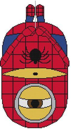 Cross Stitch PATTERN COLOR Minions Spider-Man Peter Parker Super Hero Comics #Resparkled