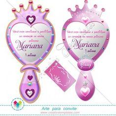 Convite Espelho de princesa mod:583 Princess Mirror invitation printable party