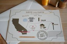 save the date - cute!  can map out where you met, got engaged, are getting married