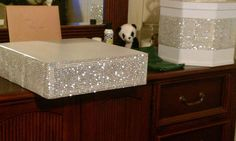 DIY Cake Stand Made from 2x4's, rhinestone mesh, pearl fabric and glass on top