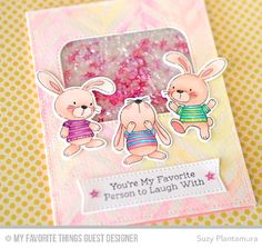 Handmade Card from Suzy Plantamura featuring Snuggle Bunnies stamp set and Die-namics, and Inside & Out Stitched Rounded Rectangle STAX and Blueprints 13 Die-namics #mftstamps