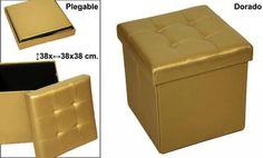 PUFF DORADO POLIPIEL PLEGABLE Medidas: 38x38x38cm IVA incluido
