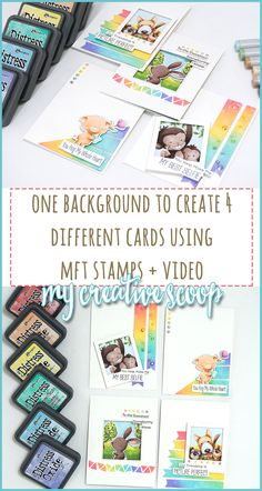 Create 4 different cards from 1 design + MFT NEW Release #MFTStamps #MyFavoritethingsstamps #MFT #DistressOxide #Backgrounds #Copic #NoLineColoring