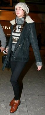 Eleanor Calder - Heathrow Airport  I also had to repin this to my fashion board because her clothing taste is so fresh!