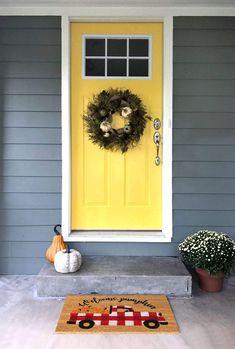 Bright Front Doors, Yellow Front Doors, Front Door Paint Colors, Modern Front Door, Painted Front Doors, Rustic Front Doors, Best Front Door Colors, Front Door Entrance, Exterior Front Doors