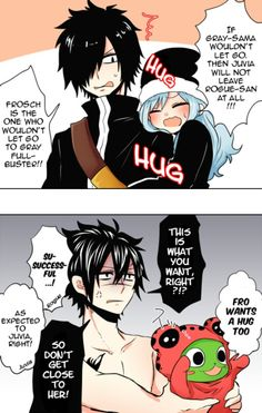 Fairy tail cute gray and juvia comic (plus frosch and rogue). Why do I ship these two so much Gruvia Fairy Tail Gruvia, Fairy Tail Gray, Fairy Tail Funny, Fairy Tail Love, Fairy Tail Ships, Fairy Tail Anime, Fairy Tail Family, Fairy Tail Couples, Tsundere