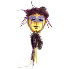 Mask on a Stick Gold Feathers