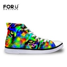 FORUDESIGNS 2017 New Fashion Colorful Animal Printing Men's High-top Vulcanize Shoes Male Spring Autumn Lace-up Flat Canvas Shoe