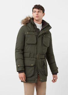 Faux-fur feather down long coat - Coats for Man | MANGO Man Ireland
