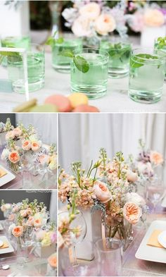 peach cabbage roses and dusty miller - flowers are so amazing. love the soft peach.