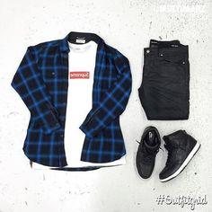 Outfit grid - Black & blue checks