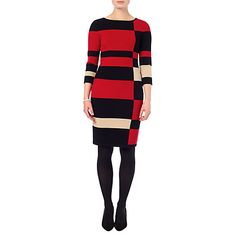 Buy Phase Eight Mackenzie Colour Block Dress, Red/Black Online at johnlewis.com