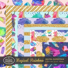 Magical Rainbow Digital Paper Glitter Unicorn by TheMagicHappens