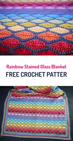 Rainbow Stained Glass Blanket Free Crochet Pattern #crochet #homedecor #homemade #diy #crafts