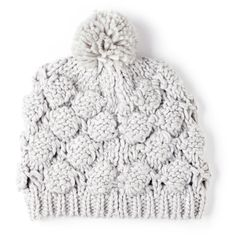 Sole Society chunky knit beanie w/ pom ($12) ❤ liked on Polyvore featuring accessories, hats, beanies, grey, acrylic hat, grey beanie hat, gray beanie, pom beanie and acrylic beanie hat