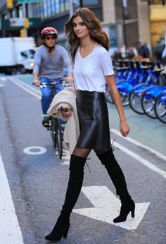 Fall trends | Minimal white t-shirt, black leather skirt, over the knee boots